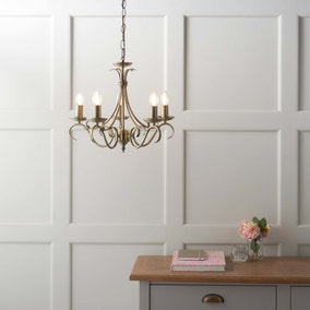 Endon Bernice 5 Light Candelabra Ceiling Fitting Antique Brass