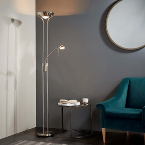 Endon Rome Father And Child Floor Lamp Satin Nickel