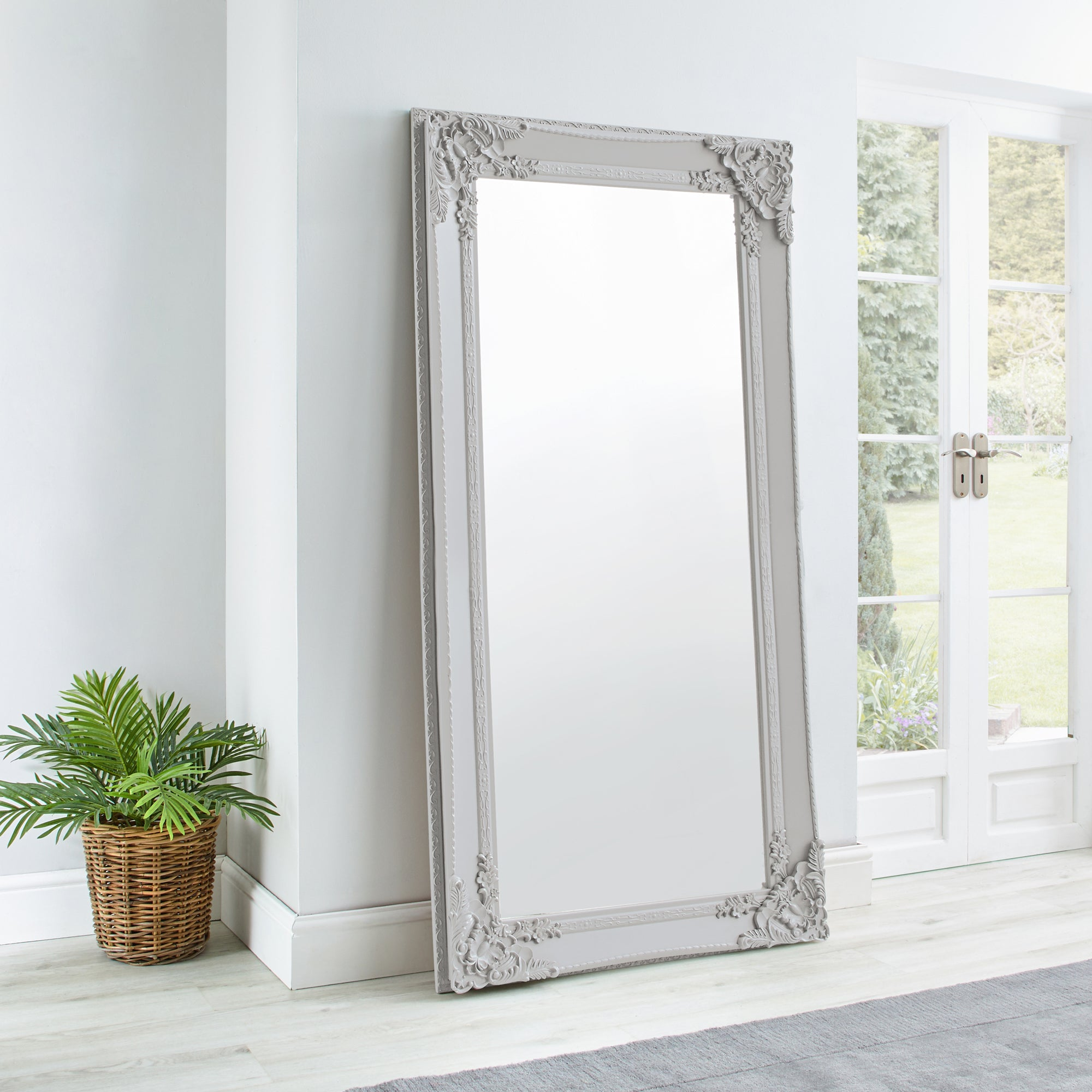 Click to view product details and reviews for Roma Leaner Mirror 177x91cm Soft Grey Grey.