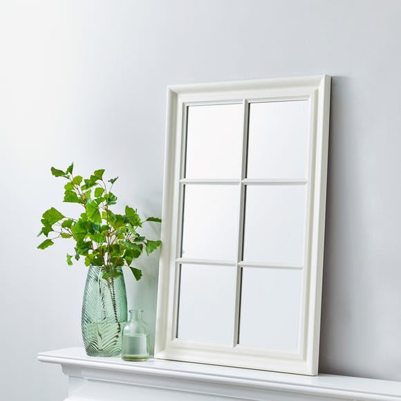 Window Wall Mirror 90x60cm White Ivory