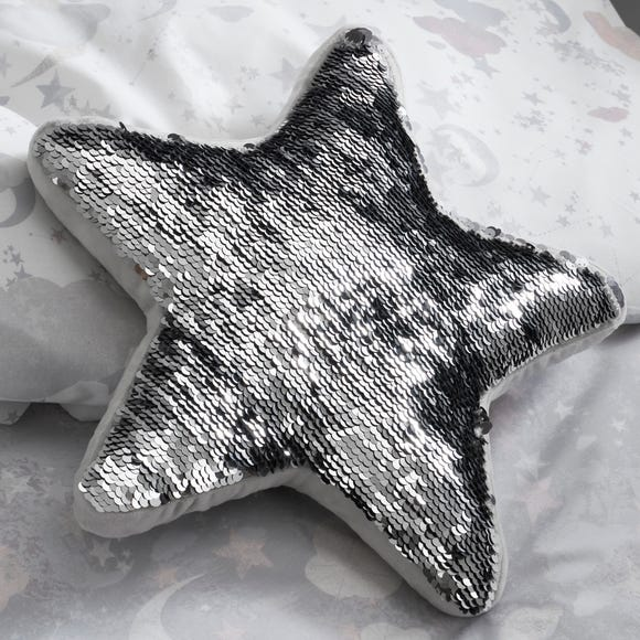Constellation Sequin Star Cushion Grey