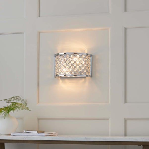 Endon Hudson 2 Light Crystal Wall Light Silver