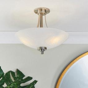 Endon Welles 3 Light Semi Flush Ceiling Fitting