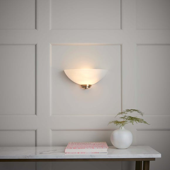 Endon Welles 1 Light Frosted Glass Wall Light White