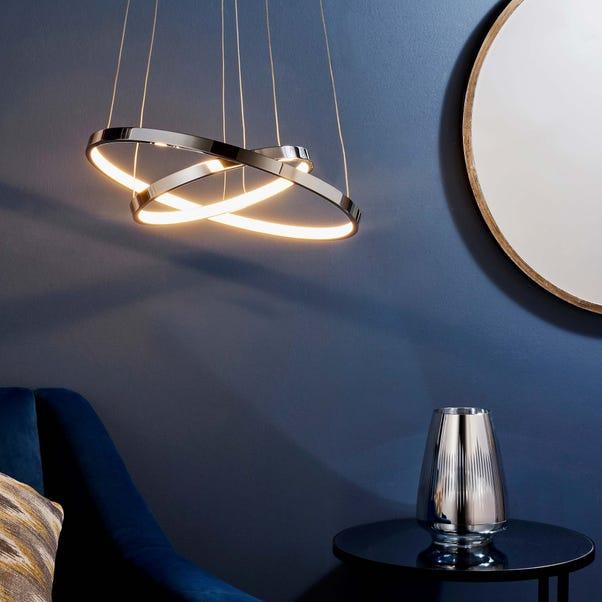Endon Kline 2 Light Integrated LED Hoops Ceiling Fitting Chrome