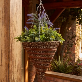 Artificial Lavender Hanging Basket