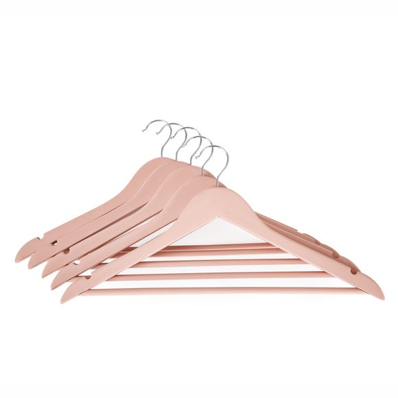 Set of 5 Wooden Blush Pink Coat Hangers Pink