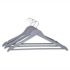 Set of 3 Soft Touch Grey Coat Hangers
