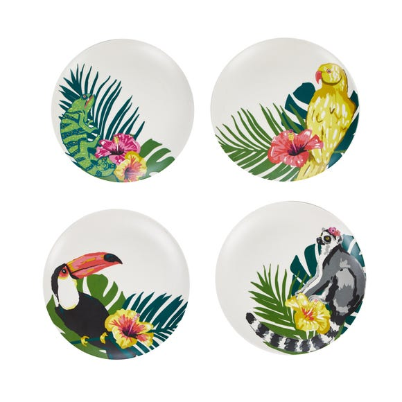 Animal Print Pack of 4 Bamboo Side Plates MultiColoured