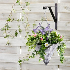Artificial Floral Grey Hanging Basket
