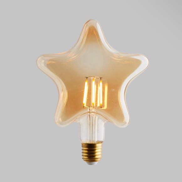 Status 4 Watt LED ES 28cm Star Shape Bulb Gold
