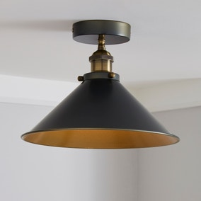 Logan 1 Light Pendant Grey Industrial Semi-Flush Ceiling Fitting