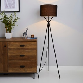 Drei Tripod Black Floor Lamp