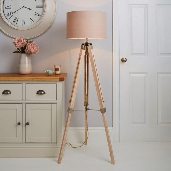 Trio Tripod Light Wood Floor Lamp Light Wood