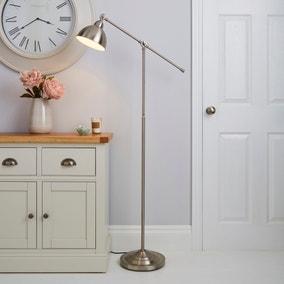 Lever Arm Satin Nickel Floor Lamp