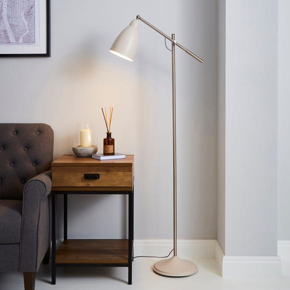 Robson Mushroom Lever Arm Floor Lamp Cream