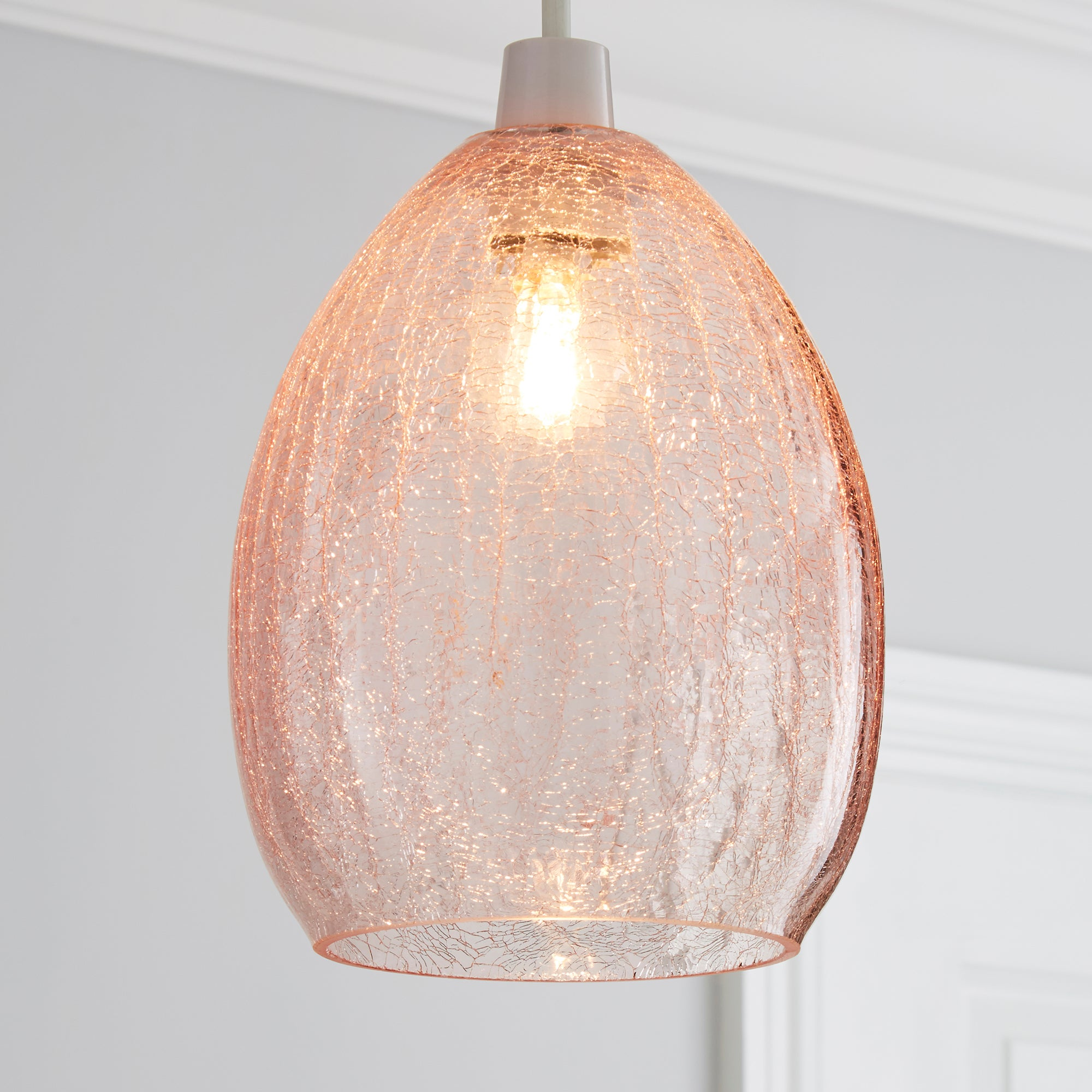 Click to view product details and reviews for Akola Pink Glass Easy Fit Pendant Pink.