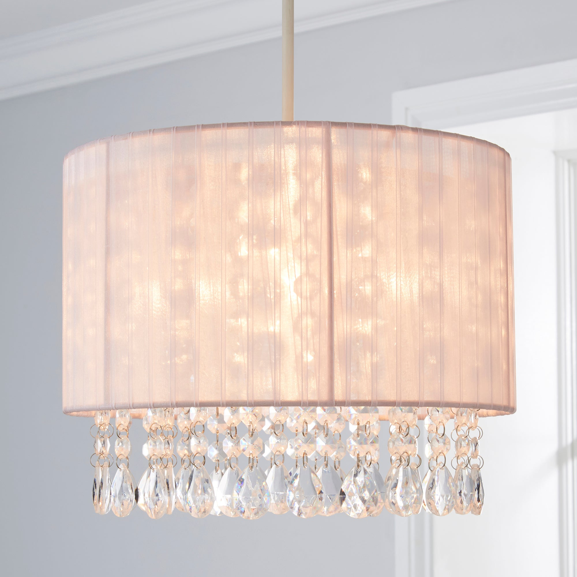 Click to view product details and reviews for Riah Jewel Shade Pink Easy Fit Pendant Pink.