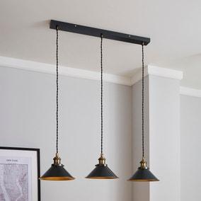 Logan 3 Light Black Industrial Diner Ceiling Fitting