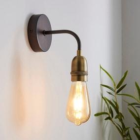 Marsden Antique Brass Industrial Wall Light