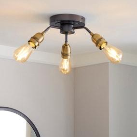 Marsden 3 Light Antique Brass Industrial Semi-Flush Ceiling Fitting
