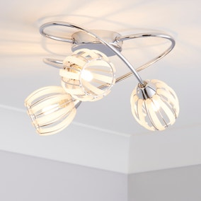 Rosa 3 Light Chrome Semi-Flush Ceiling Fitting