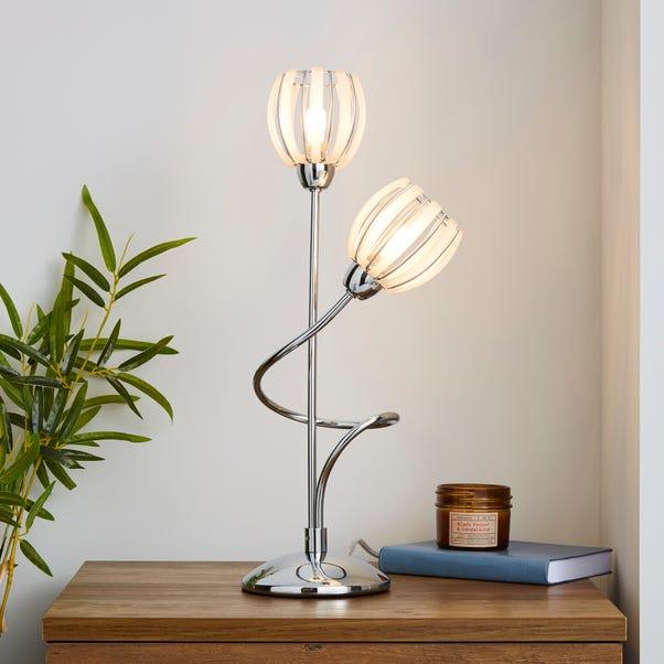 Rosa 2 Arm Chrome Table Lamp Silver