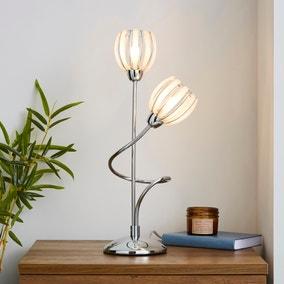 Rosa 2 Arm Chrome Table Lamp