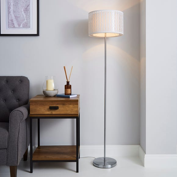 Jodie Cut Out Ivory Floor Lamp White