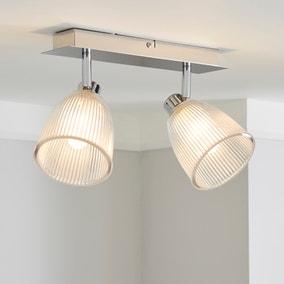 Bremont 2 Light Ribbed Glass Bathroom Spotlight