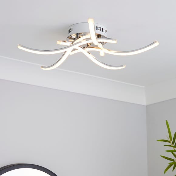 Layla 5 Light Integrated LED Semi-Flush Ceiling Fitting Silver
