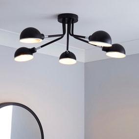 Borr 5 Light Black Ceiling Fitting