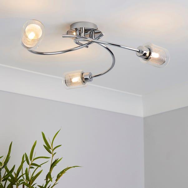 Grace 3 Light Chrome Semi-Flush Ceiling Fitting Silver