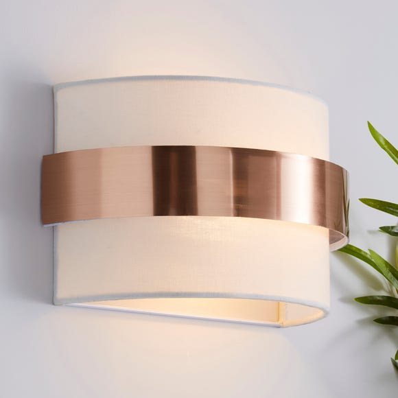 Joey Ivory Shaded Copper Wall Light Ivory