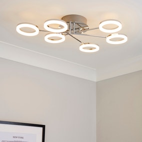 Iring 6 Light Integrated LED Hoops Semi-Flush Ceiling Fitting