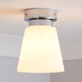 Delavin 1 Light Pendant Frosted Glass Flush Ceiling Fitting