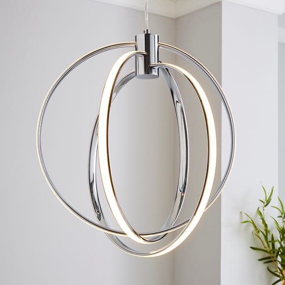 Pegasus 3 Light Integrated LED Hoops Chrome Ceiling Fitting Silver