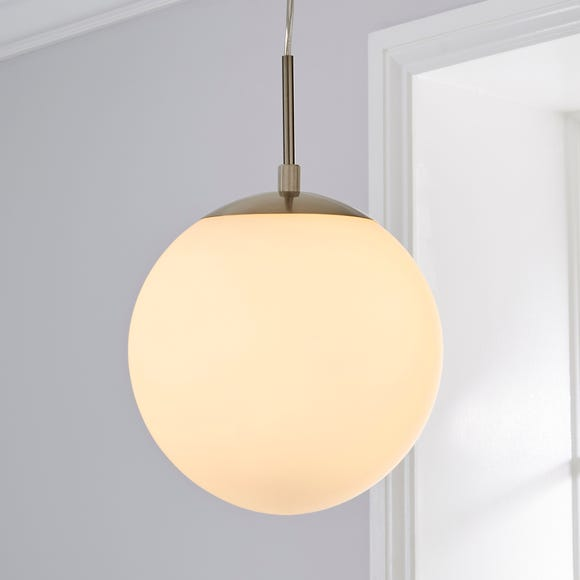 Hamptworth 1 Light Pendant Dome Frosted Glass Ceiling Fitting Silver