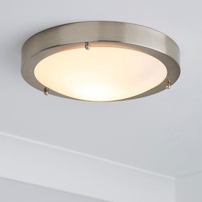 Pluto 1 Light Frosted Glass Flush Ceiling Fitting