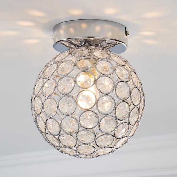 Sphere 1 Light Pendant Flush Ceiling Fitting Silver