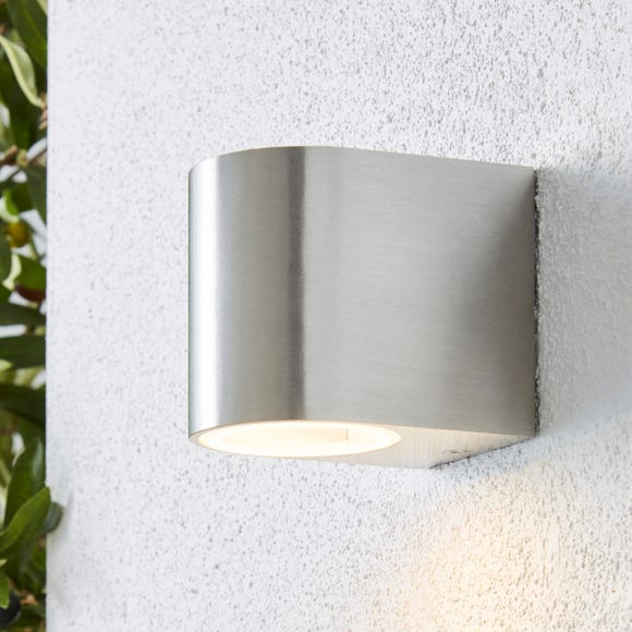 Tam Down Lighter Steel Outdoor Wall Light Silver