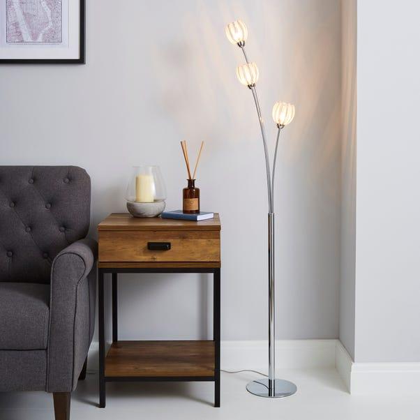 Rosa 3 Light Chrome Floor Lamp Silver