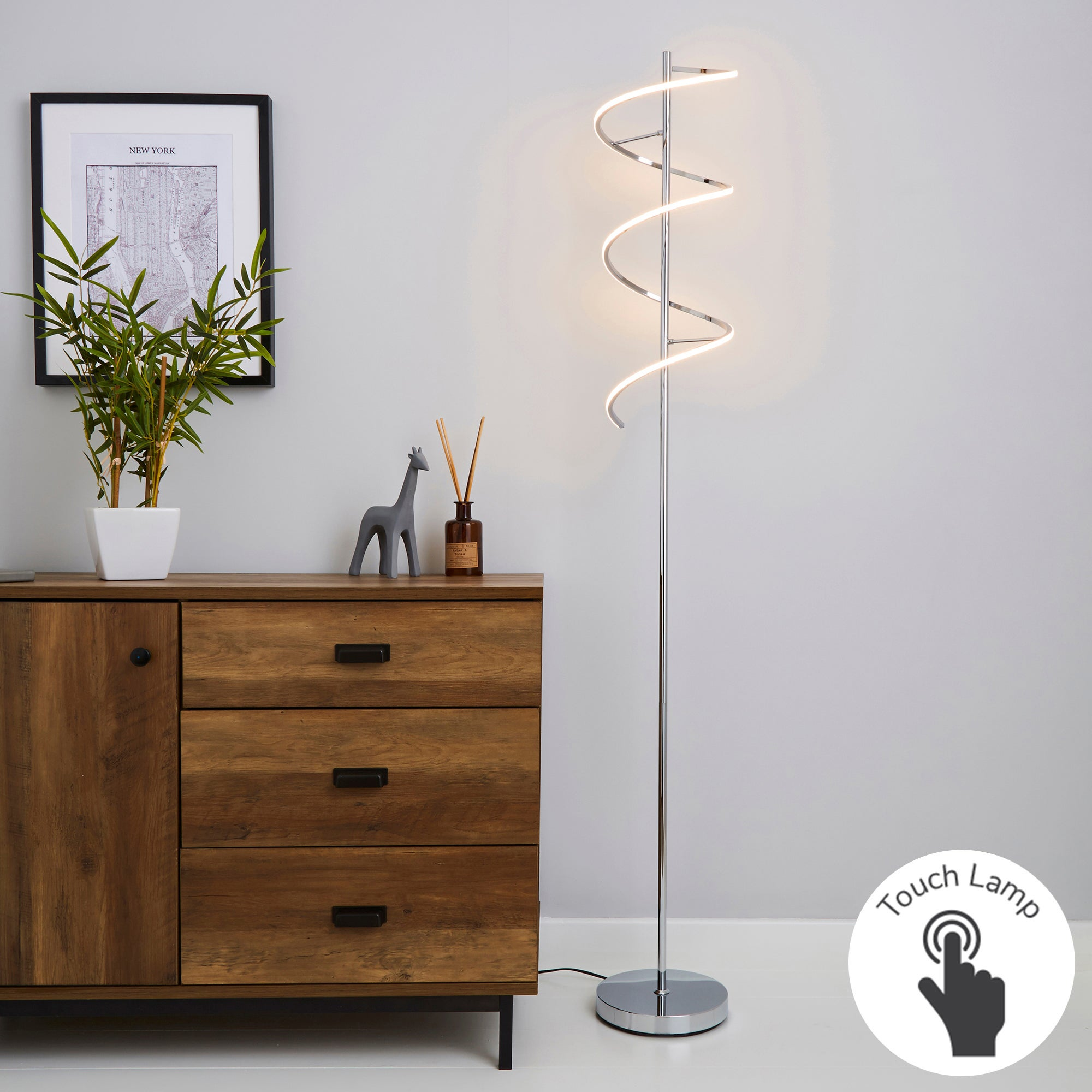 Apollo Integrated LED Touch Dimmable Chrome Floor Lamp Chrome