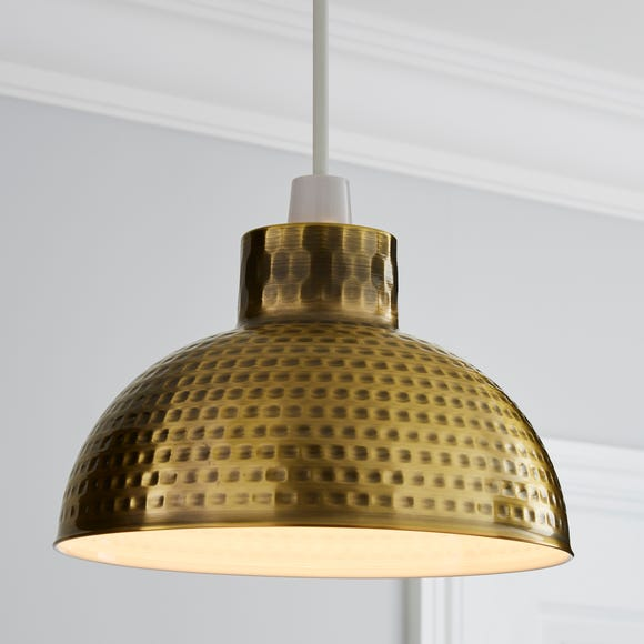 Hammered Metal Brass Easy Fit Pendant Gold