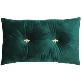Teal Bumble Bee Velour Cushion