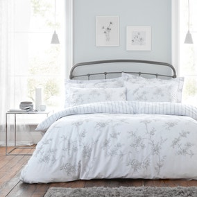 Rachael Embroidered 100% Cotton Duvet Cover and Pillowcase Set