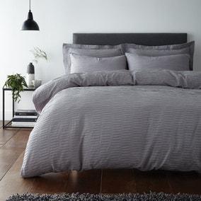 Alissa Grey 100% Cotton Duvet Cover and Pillowcase Set