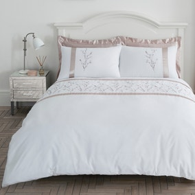 Nancy Pink Embroidered Duvet Cover and Pillowcase Set
