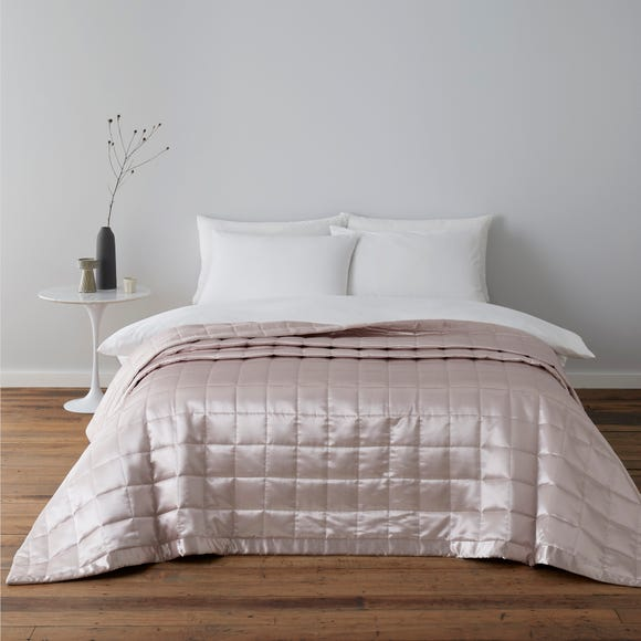 Nancy Pink Satin Quilted Bedspread  undefined