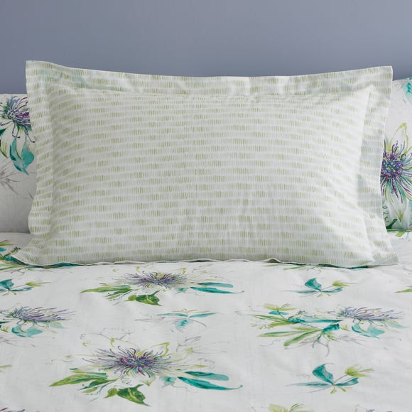 Passion Flower Green Oxford Pillowcase Green